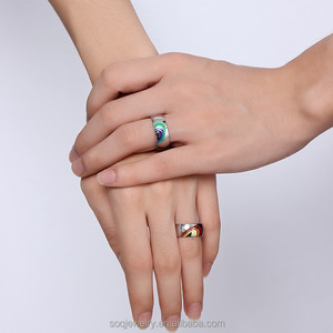 f31a074ea1ce2 Rainbow Heart White Stainless Steel Finger Jewelry Promise Engagement  Couples Rings