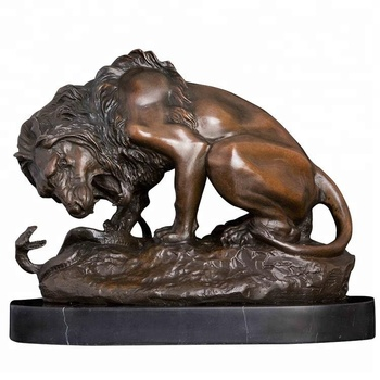 Table top decoration Big Lion fights against a snake -Decorative bronze metal crafts Sculpture - signed A. Barye