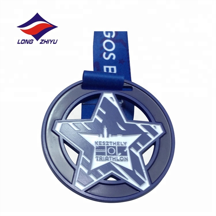 Competition Prizes Metal Custom <strong>Logo</strong> Embossed Sports Medal Star Medallions