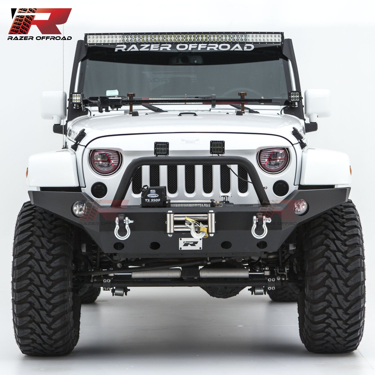 Razer Auto 07-17 Jeep Wrangler JK Black Textured Rock Crawler Full Width Front Bumper with OE Fog Light Hole, 2x D-Ring and Built-In Winch Mount Plate