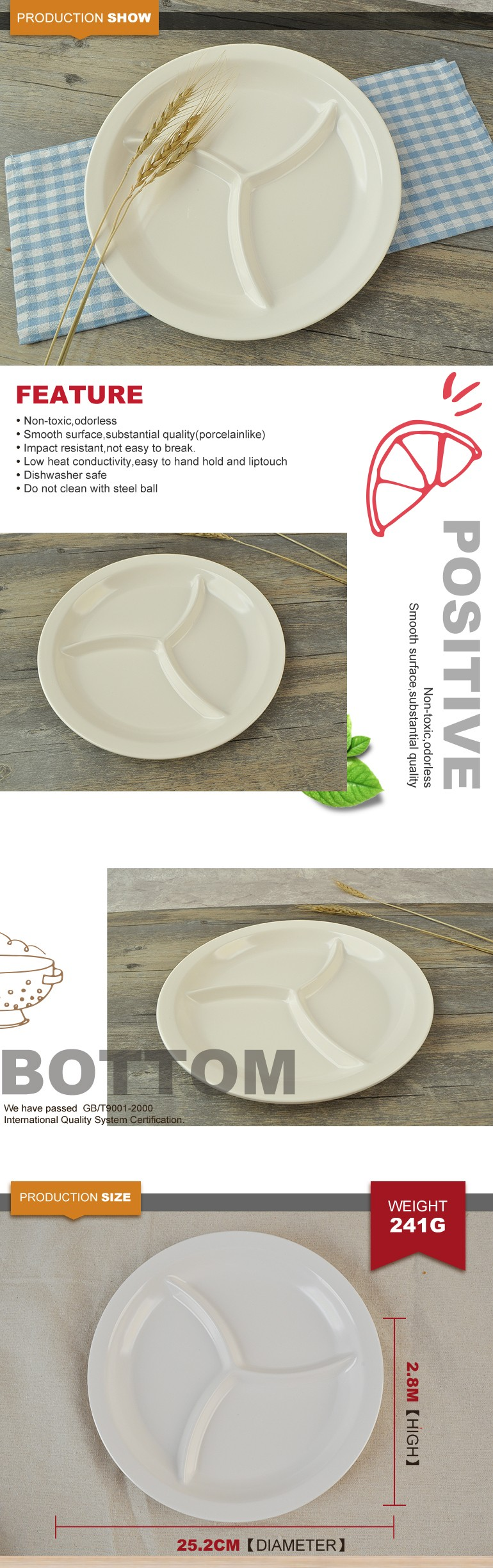 Hot selling new products plastic 3 compartment melamine plate for sale & Hot Selling New Products Plastic 3 Compartment Melamine Plate For ...