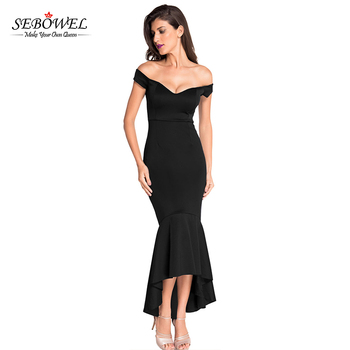 867317f27a Hot Wholesale Black Off-Shoulder Mermaid Jersey Evening Dress Elegant