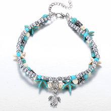 Женский ювелирный браслет на лодыжку IF YOU, 1 шт., с волнами, морская звезда, для лета, для пляжа, с зелеными бусинами, камнями, для девушек(Китай)
