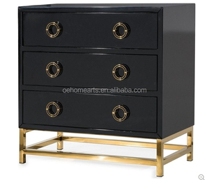 Luxury Black lacquer 3 drawer Chest