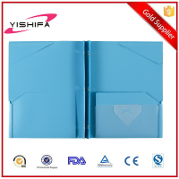 Letter size poly PP plastic portfolio 2 pockets with 3 ring prongs pockets prong folder