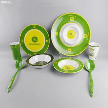 Camping white embossed plate bowl cup fork spoon melamine tableware 8-piece set