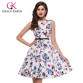 Grace Karin High Quality Plus Sizes Retro Style Knee Length Vintage 1950s  Cotton Dress - Buy Retro Style Cotton Dress,Cotton Dress Plus Size,Cheap ...