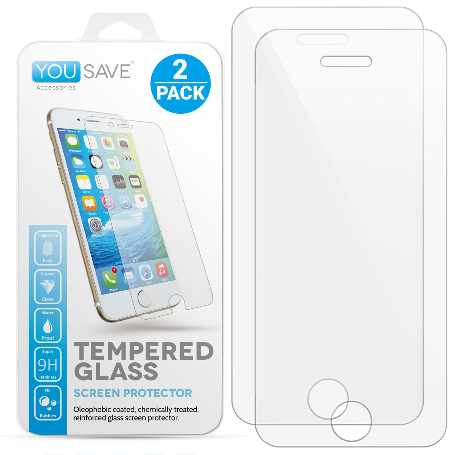 iPhone 5S / 5 / SE / 5C [2-Pack] Glass Screen Protector By Yousave Accessories Crystal Clear Tempered Glass [Ultra Slim 0.3mm / 9H Hardness Rating] Twin Pack