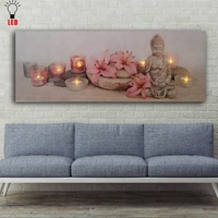 LED buddha canvas art flicking Wall painting candles with flowers pictures printing light up small MOQ factory price