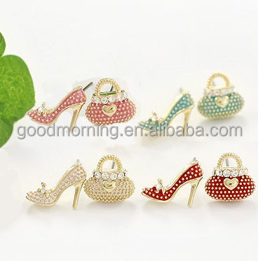 4 Color Available Sweet Shoes Bag Inlay Crystal Studs Earrings