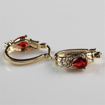 Most Popular New Design 22k Red Stone Indian Gold Hoop Earrings