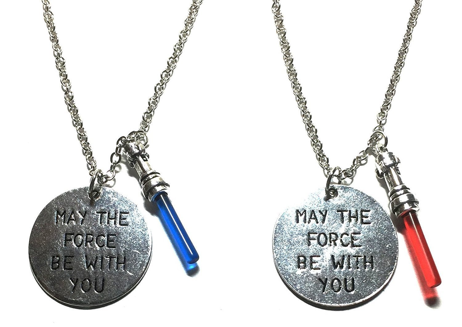 """Star Wars Dark Side & Light Side """" May The Force Be With You """" Charm Necklace SET"""