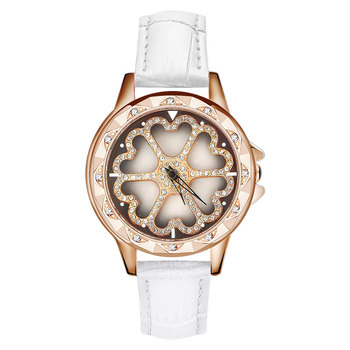 New Luxury Women Fashion Watch Hollow Flower Rotating Dial Lady Watch