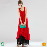 D312 Women U Neck Latest Summer Design Red and Black Plus Sizes Maxi Dress