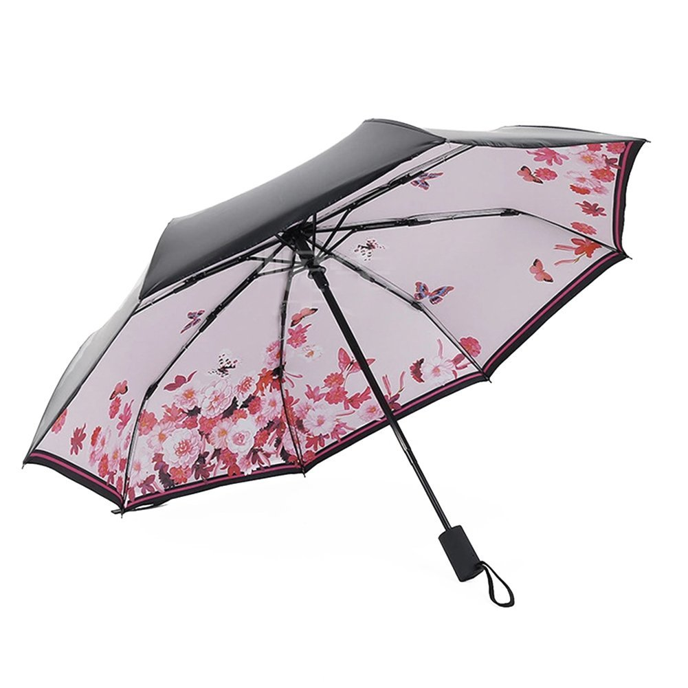 Lanlan Creative Folding Umbrella Portable Triple Folding All-weather Umbrella Anti-UV Sunproof Parasol Automatic Pink