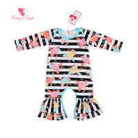 Fancy Frocks Clothing Design for Baby Girls Newborn Printed Ruffle Jumpsuit