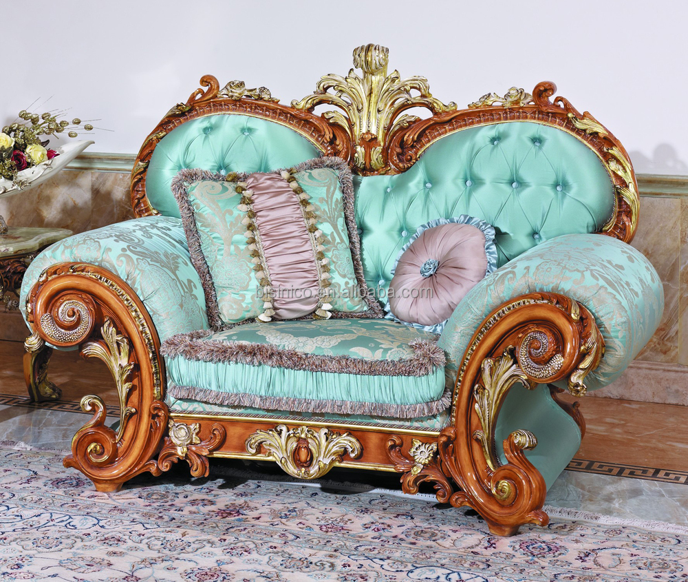 Luxury french baroque style living room blue sofa set for French baroque style