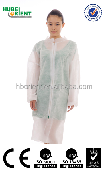 Custom design disposable nonwoven lab coat with zipper and pockets