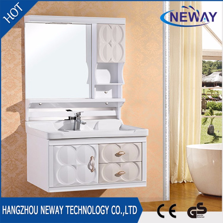 Wall mounted pvc waterproof modern bathroom sink cabinets for Waterproof bathroom cabinets