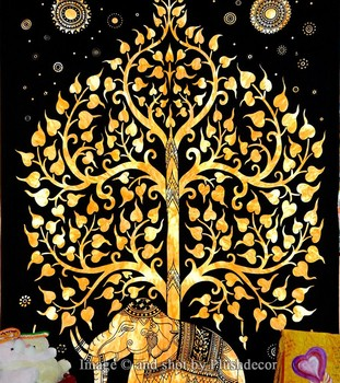 Elephant Tapestries Tree Of Life Tapestry Indian Wall Hanging Decorative Art