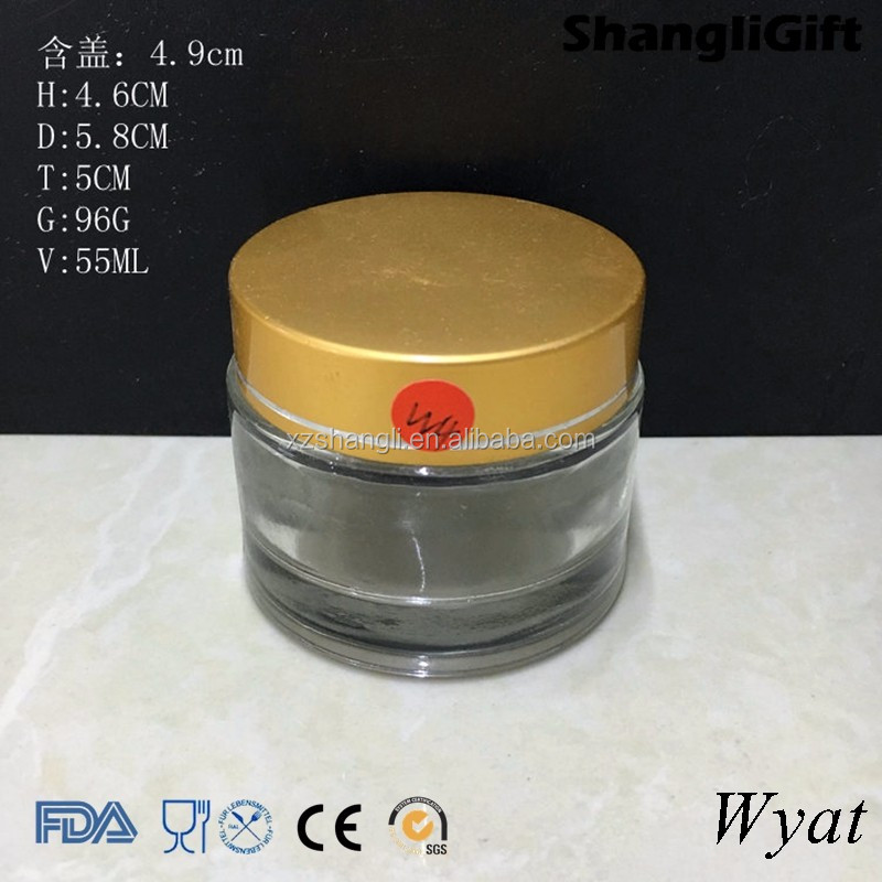 cheap 50ml 2oz glass cream jars for personal care