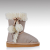 HC-529 Suede imitation faux fur pom poms Fancy little girls winter boots
