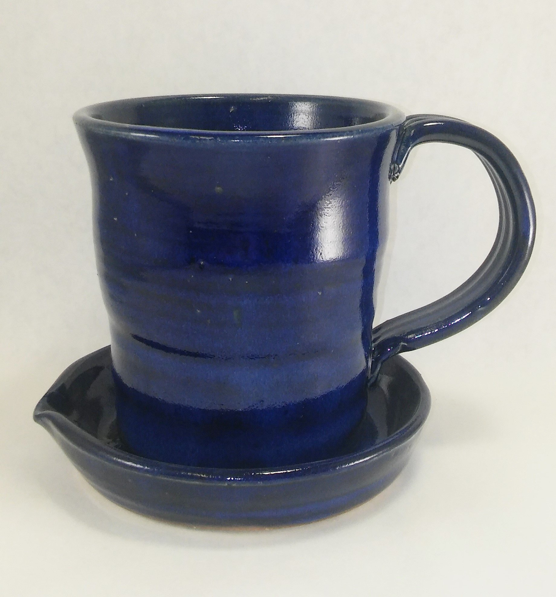 Aunt Chris' Pottery - Heavy Hand Made - Bacon Cooker - Unique New Way of Cooking Bacon - Deep Cobalt Blue Colored Glazed