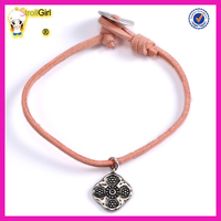 Simply jewelry 925 sterling silver oxidation pendant handmade leather bracelet