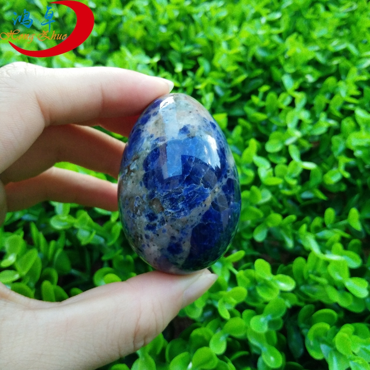 Factory price blue semi precious stone sodalite eggs for women kegel exercises use