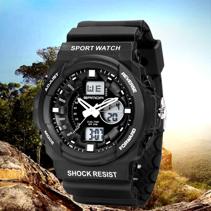 LCD Display 30m Waterproof Quakeproof Sport Style Eletronic Quartz Watch for Men