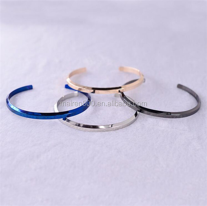D&W Stainless Steel Classic Bangle Personalized Engraved Cuff Bracelet Men Mens Bracelets