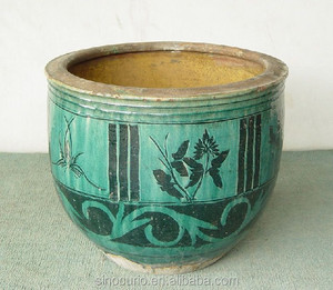 Chinese antique old green glazed pottery pot