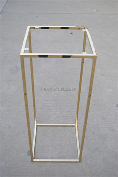 Golden Polish Stainless Steel Cube Console Table Leg