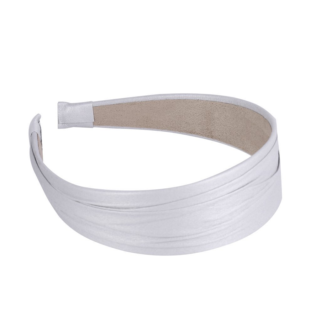 8 Colors Vintage Wide Artificial Leather Headband Hair Band Fashion Accessories - Light Gray, 23 cm