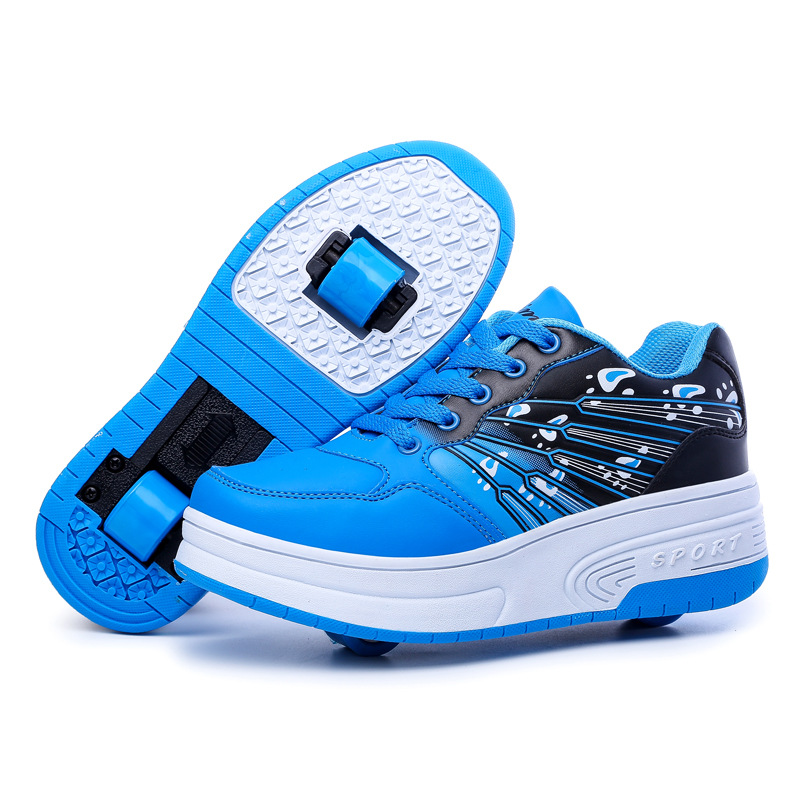 2016 New Leather Kids Roller Shoes Heelys Boys Girls Sneakers Casual With single/two Wheels Con Ruedas Automatic Skating Shoes