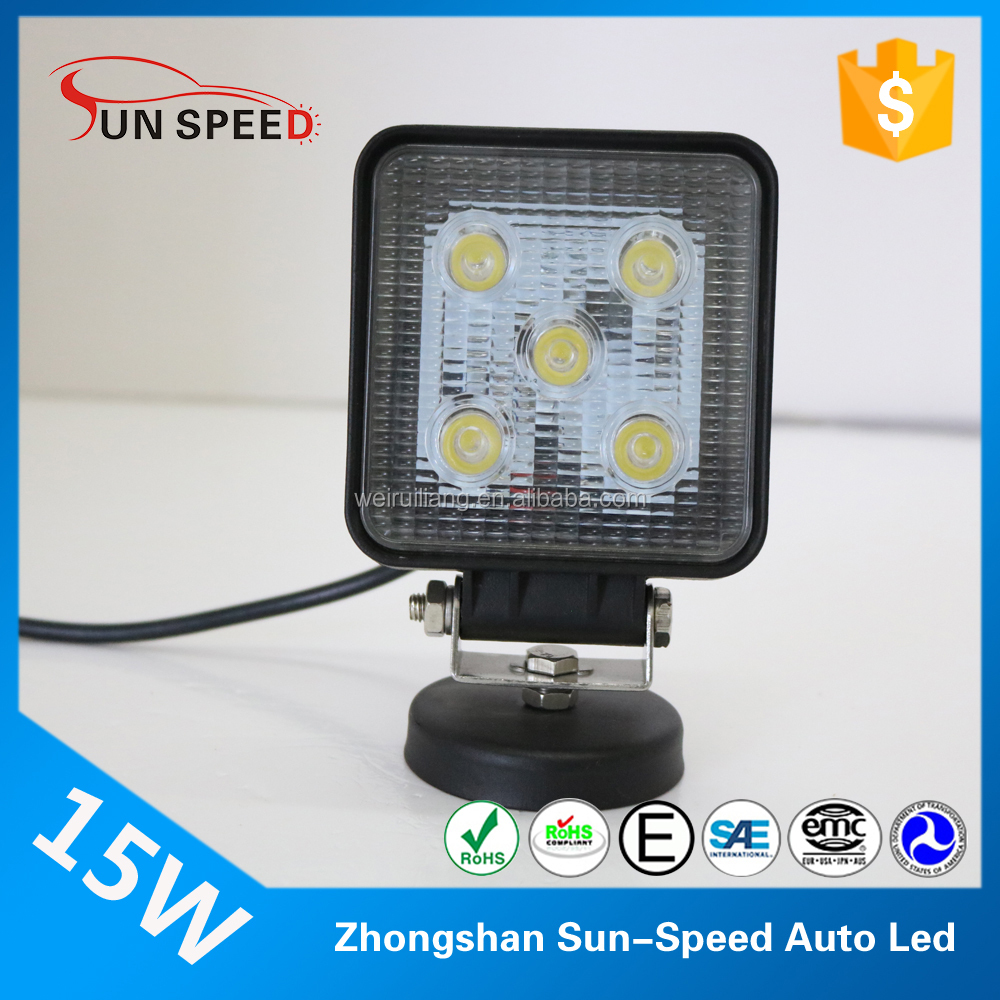 Sun-Speed 15W front bumper led work light, 5 inch rectangle led work light with roof mount brackets