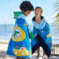 China supply private label high quality custom printed microfiber hooded kids poncho towel surf for children