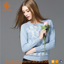 2017 Spring women's knit pullover sweater , latest design ladies longsleeve 12gg knitted sweater