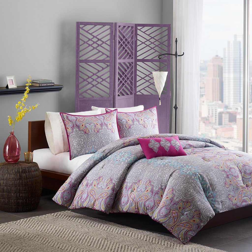 Comforter Girls Teen Bedding Set Pink Purple Yellow Paisley Pillows Update Your Rooms Look Instantly Full/queen or Twin/twin Xl (TWIN/TWIN XL)