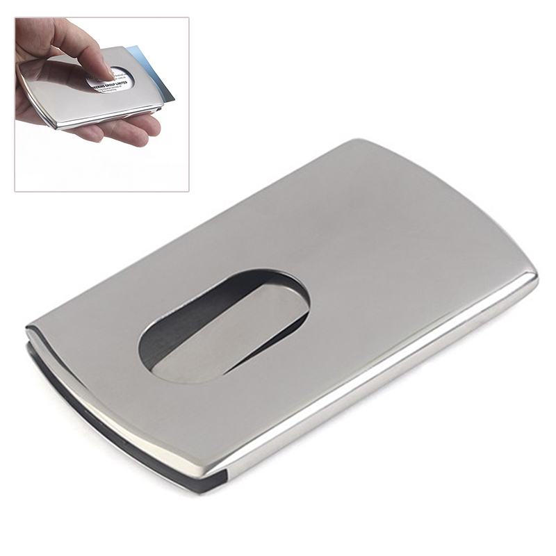 da03718e306eb ... New 1 Piece Business Card Holder Stainless Steel Women Men Thumb Slide  Out Pocket ID Banks