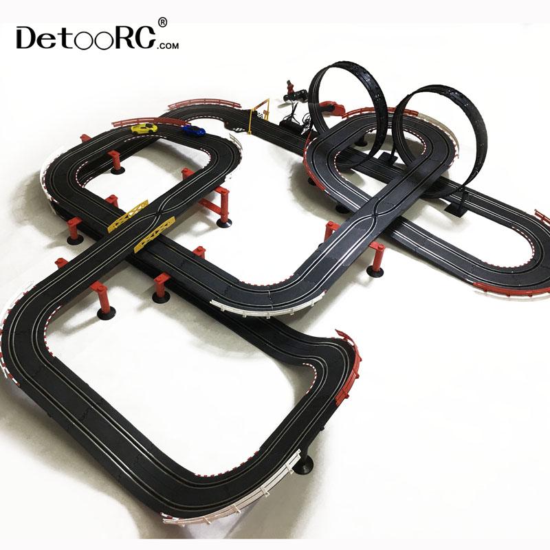 detoo 1420cm kids fast speed ho slot race diy rc toys track electric toy car  slot car 1:43 racing tracks