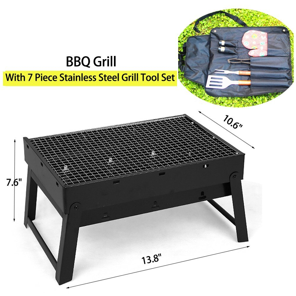 Get Quotations · My HomeLover Mini Foldable Charcoal BBQ Grill With 7 Piece  Stainless Steel Barbecue Grill Tool Set