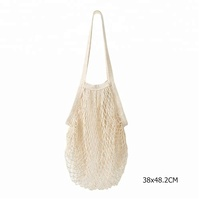 Wholesale Eco Recycle Cotton Mesh Shopping Bag and Handle Style Plain White Black Mesh tote Bag