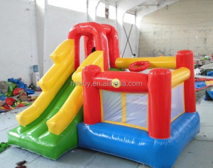0.55mm plato pvc inflatable mini combo jumper bouncer with slide for sale