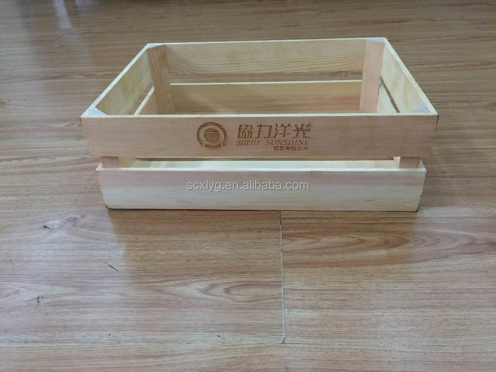 Customized wine beer fruit decor and storage wooden crate box