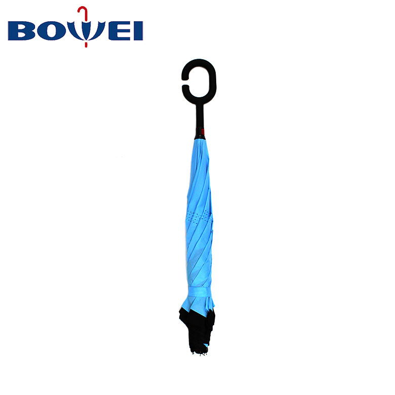 Manual open reverse umbrella double layer material with C handle custom logo