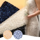 Factory direct wedding dress glitter lace glass beaded fabric sequins mesh Women's beads pearls flat Embroidery Fabric Lace
