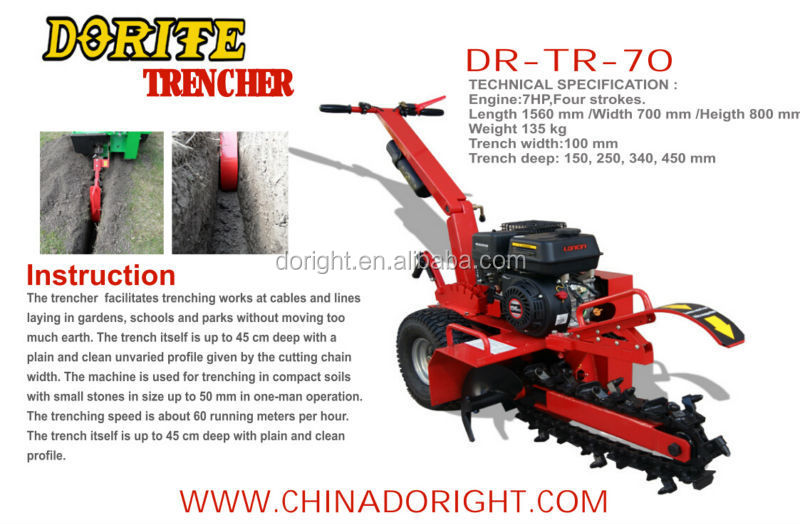 High efficiency Trencher 450mm trench deepth with B&S, Kohler, Honda engine