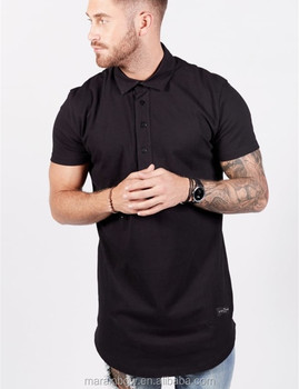 0b60d604 wholesale blank streetwear black long tail polo t-shirt for men longline  short sleeve curved