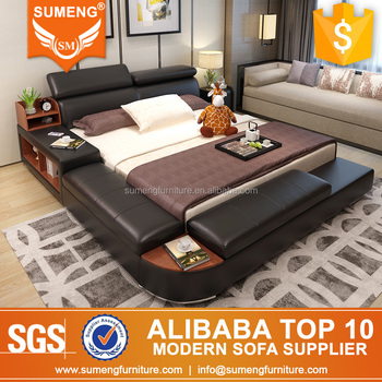 Elegant black PU leather sofa bed bookshelf, View black leather sofa ...